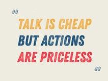 Gespräch ist billig, aber Aktionen sind unbezahlbares Motivationszitat stock abbildung