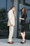 Gespräch während eines Geschäftsbruches Stockfoto