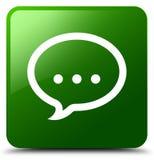 Gesprächsikonengrün-Quadratknopf Stockfoto
