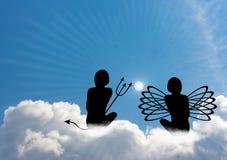 Gesprek tussen engel en duivel Stock Afbeelding