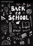 Gesso disegnato a mano di nuovo agli scarabocchi della scuola Fotografie Stock Libere da Diritti