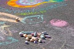 Gesso ed arte del marciapiede Fotografia Stock Libera da Diritti