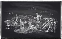 Gesso rurale del paesaggio, del mulino a vento e della vigna Fotografia Stock Libera da Diritti