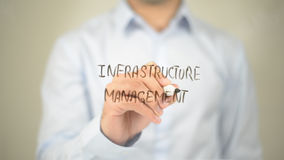 Gestão da infraestrutura, escrita do homem na tela transparente Fotos de Stock