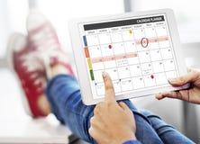 A gestão da organização do planejador do calendário lembra o conceito imagens de stock royalty free