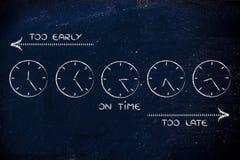 Gestão de tempo e programações da criação: cedo, tarde e no tempo Imagens de Stock