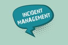 Gestão do incidente da escrita do texto da escrita Processo do significado do conceito para retornar o serviço aos perigos corret ilustração do vetor