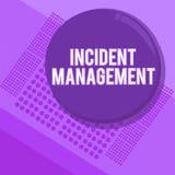 Gestão do incidente da escrita do texto da escrita Processo do significado do conceito para retornar o serviço aos perigos corret ilustração stock