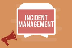 Gestão do incidente do texto da escrita da palavra Conceito do negócio para que o processo retorne o serviço aos perigos corretos ilustração stock