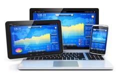 Gestão financeira em dispositivos móveis ilustração royalty free