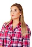 Gestörte und beleidigte blonde junge Frau Lizenzfreie Stockbilder