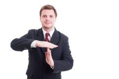 Gest för automatisk frånslagningstid för visning för affärschef eller affärsman arkivfoto