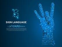 Gest för nummer åtta för teckenspråk, fillip, för kommunikationsalfabet för Polygonal lågt poly dövt folk tyst vektor royaltyfri illustrationer
