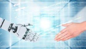 Gest för robot- och manhandvisning som isoleras på vit arkivbild