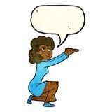 gest för tecknad filmkvinnapresentation med anförandebubblan Royaltyfri Bild