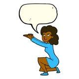 gest för tecknad filmkvinnapresentation med anförandebubblan Arkivfoton