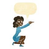 gest för tecknad filmkvinnapresentation med anförandebubblan Fotografering för Bildbyråer