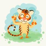 Gest för tecknad filmTiger Smile Show Two Finger fred royaltyfri illustrationer