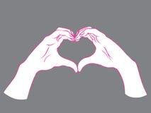 gest Kvinnlighänder i form av hjärta Fotografering för Bildbyråer