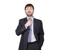 Gest nieufności kłamstwa Język ciała mężczyzna w garniturze, prostuje jego krawat, flirtuje pojedynczy białe tło Obraz Stock