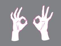 gest Okey tecken Två kvinnliga händer med index- och tummedanandecirkeln, annan fingrar upp Fotografering för Bildbyråer