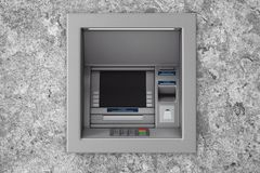 Gestalt in Bank-Bargeld ATM-Maschine Wiedergabe 3d Stockfotos