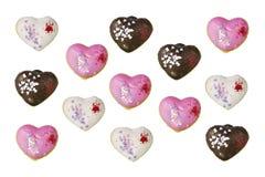 Gestalte gegeven groep hart donuts royalty-vrije stock foto's