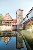 Gestalten Sie Ansicht über den Flussufer in Nurnberg, Deutschland landschaftlich stockfotografie