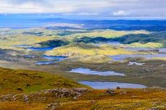 Gestalten Sie Ansicht des Inverpolly-Gebirgsbereichs in den Hochländern von Scot landschaftlich Stockbild