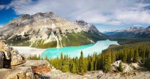 Gestalten Sie Ansicht, Peyto See, Kanadier Rocky Mountains landschaftlich Stockfotografie