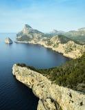 Gestalten Sie Ansicht von der Klippe Cap de Formentor landschaftlich Lizenzfreies Stockbild
