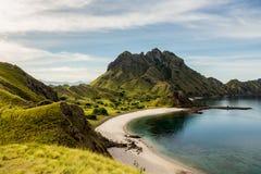 Gestalten Sie Ansicht von der Spitze Padar-Insel in Komodo-Inseln, F landschaftlich Stockfoto