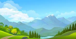 Gestalten Sie Ansicht von Schnee bedeckten Bergen, von grünen Wiesen und von Fluss landschaftlich stock abbildung