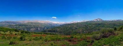 Gestalten Sie Ansicht zu den Bergen und zu heiligem Tal Kadisha Valleys alias im Libanon landschaftlich Lizenzfreie Stockfotografie