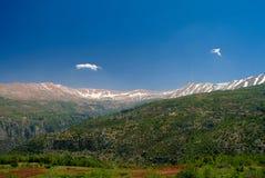 Gestalten Sie Ansicht zu den Bergen und zu heiligem Tal Kadisha Valleys alias, der Libanon landschaftlich Lizenzfreie Stockfotografie
