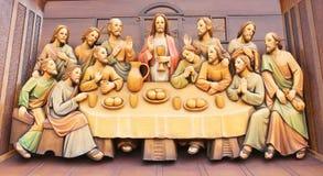 Gestalten Sie das hölzerne Schnitzen des letzten Abendessens von Jesus Lizenzfreie Stockfotografie