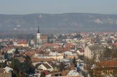 Gestalten Sie die ungarische Stadt Esztergom landschaftlich Stockfotografie