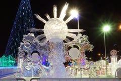 Gestalten Sie Eissonne nachts, Eisstadt Lizenzfreie Stockfotografie