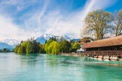 Gestalten Sie entlang See Thun landschaftlich, die Schweiz mit Ansicht von altem bedeckt Lizenzfreie Stockfotografie