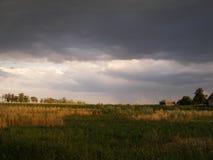 Gestalten Sie Gewitterwolken über dem Feld und Bäume an einem Sommertag im Dorf landschaftlich Stockfotos