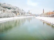 Gestalten Sie Green River des blauen Himmels der Ansichtwinterschneejahreszeit Schloss in Salzburg landschaftlich Stockbilder