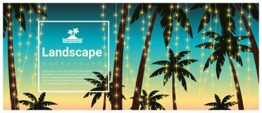 Gestalten Sie Hintergrund mit Palmen am tropischen Strandfest landschaftlich Lizenzfreie Stockbilder