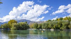 Gestalten Sie im Park eines klaren Himmels landschaftlich Lizenzfreies Stockfoto