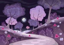 Gestalten Sie mit Bäumen und Weg in der Nacht landschaftlich Lizenzfreie Stockfotografie