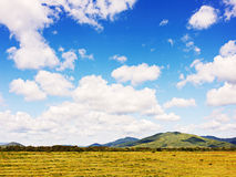 Gestalten Sie mit Bergblicken, Ackerland, blauem Himmel und beautif landschaftlich Stockfotografie