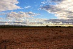 Gestalten Sie mit bewölktem Himmel und Bauernhoffeld in Kastilien-La Mancha landschaftlich lizenzfreies stockfoto