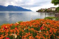 Gestalten Sie mit Blumen und Genfersee, Montreux, die Schweiz landschaftlich. Lizenzfreie Stockfotografie