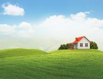 Gestalten Sie mit dem Haus und Büschen landschaftlich, die auf Weiß lokalisiert werden Stockfotos