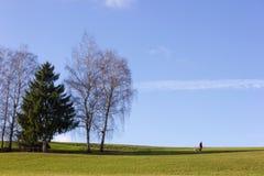 gestalten Sie mit dem Manngehen und -baum auf blauer Himmel im Dezember adve landschaftlich Lizenzfreie Stockbilder