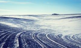 Gestalten Sie mit der bebauten landwirtschaftlichen Forderung landschaftlich, die mit Schnee durchgesetzt wird Lizenzfreie Stockfotografie